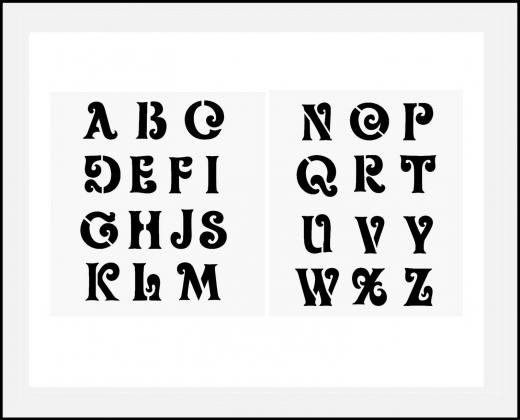 schrift schablone schn rkelschrift 5cm gro es alphabet hbm schablonenshop. Black Bedroom Furniture Sets. Home Design Ideas