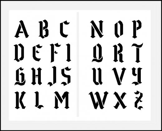 Schrift-Schablone gotische Buchstaben ● 5cm-5,5cm Alphabet groß Nr.16