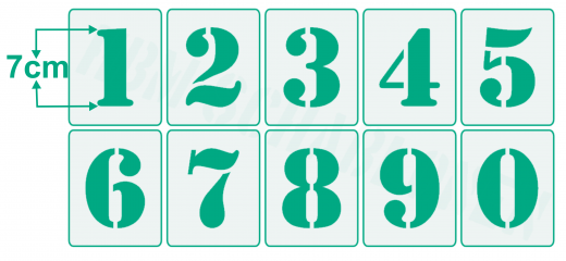 Einzelne Zahl 7cm hoch ● Zahlen-Schablonen einzelne Schablonen Nr.5