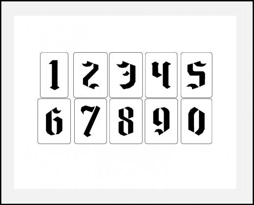 Einzelne Zahl 10cm hoch Zahlen-Schablonen einzelne Schablonen Nr. 16
