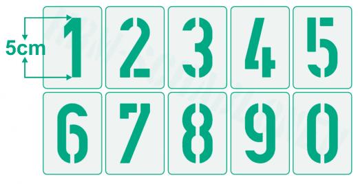 Einzelne Zahl 5cm hoch Zahlen-Schablonen einzelne Schablonen Nr. 35