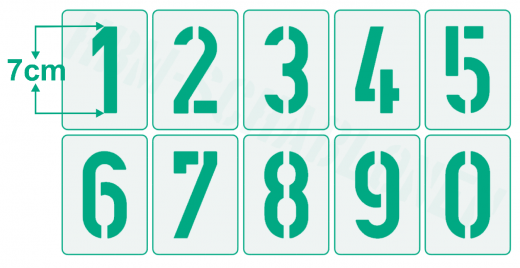 Einzelne Zahl 7cm hoch ● Zahlen-Schablonen einzelne Schablonen Nr. 35