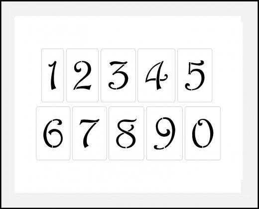 Schnörkel Zahlen 4cm-4,5cm hoch Zahlen-Schablonen-Set Nr.34 / 10 einzelne Schablonen