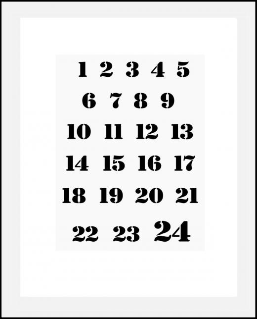 Schablone Adventskalender Zahlen -  1,5cm - 2cm hoch