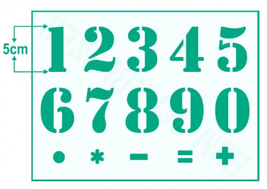Zahlenschablone Nr.5 ● Zahlen 1-0 und Sonderzeichen ca. 5cm