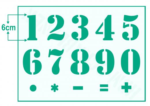Zahlenschablone Nr.5 ● Zahlen 1-0 und Sonderzeichen ca. 6cm