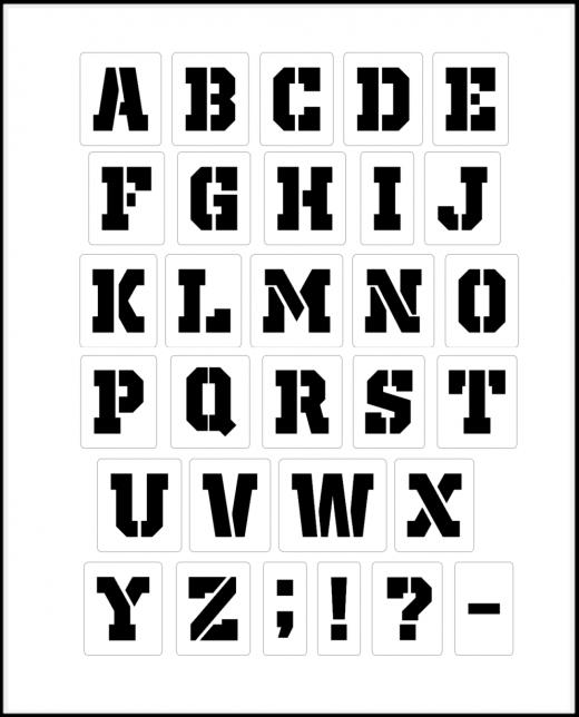 Buchstaben 5cm hoch Schrift-Schablonen-Set Nr.36 / 30 einzelne Schablonen