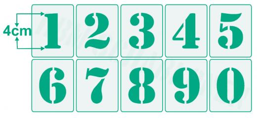 Einzelne Zahl 4cm hoch ● Zahlen-Schablonen einzelne Schablonen Nr.5