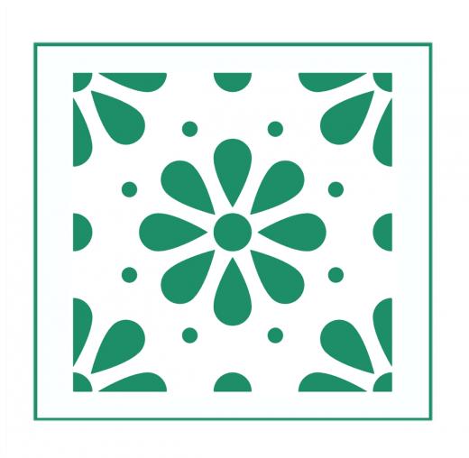 Blumen Muster Nr.08 | 15cm x 15cm - Schablonen für Fliese • Wand • Möbel