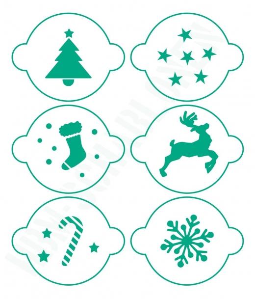 Schablonen Set ● 6 Motive Weihnachten ● für Kaffee ● Plätzchen oder Basteln