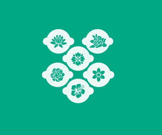 Schablonen Set ● 6 Motive Blumen ● für Kaffee ● Plätzchen oder Basteln