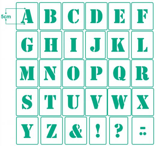 Buchstaben 5cm hoch Schrift-Schablonen-Set Nr.5 ● 30 einzelne Schablonen