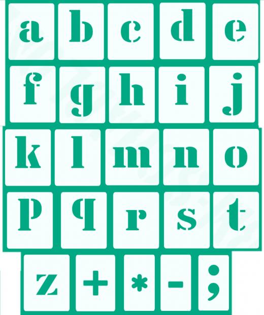 Kleine Buchstaben Schrift-Schablonen-Set Nr.5 / 30 einzelne Schablonen, passend zu 5cm Großbuchstaben