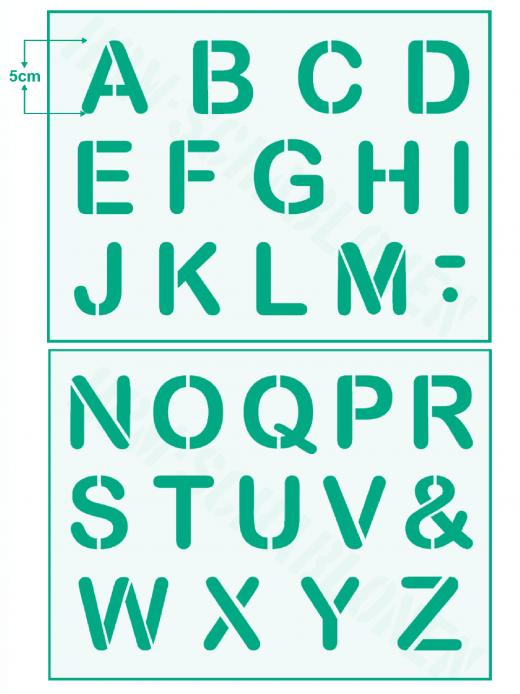 Schrift-Schablone Druck-Buchstaben ● 5cm hoch Alphabet groß Nr.2