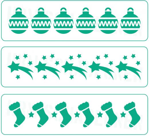 Nr. 03 ● 3er Set Weihnachts-Bordüren ● Motiv - Schablonen