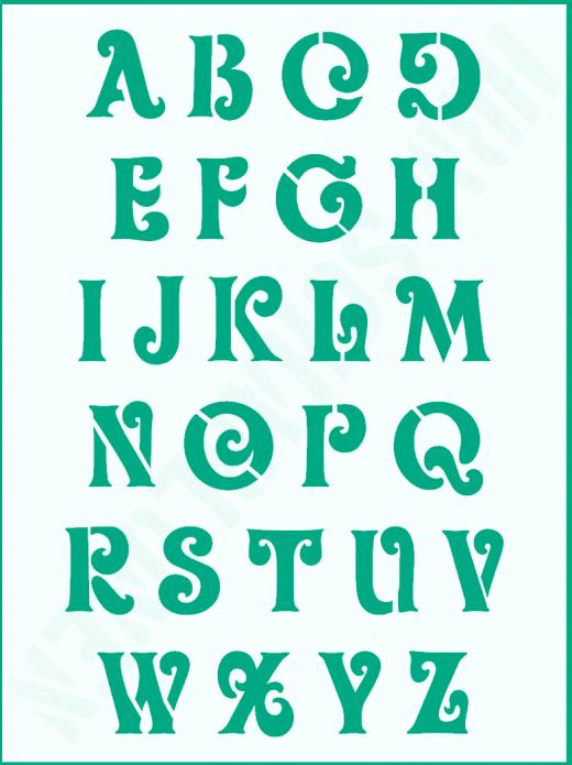 Schrift-Schablone Buchstaben ● ca. 3,5cm hoch Schnörkelschrift Nr.6 großes Alphabet