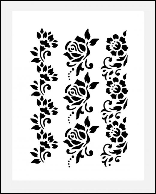Motiv-Schablone Blumen ● Rosen Bordüren