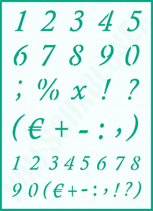 Zahlenschablone Nr. 23 ● Zahlen Kursiv 3,5cm und 2,5cm hoch