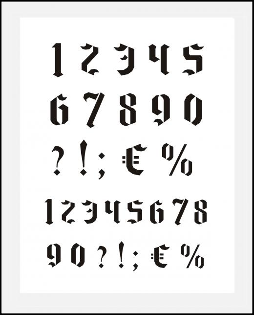 Zahlenschablone Nr.16 gotische Zahlen ca. 2,6cm - 2,8cm hoch / kleine Zahlen ca. 2cm hoch