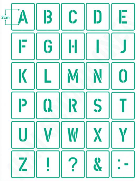 Buchstaben 2cm hoch ● Schrift-Schablonen-Set Nr.35 ● 30 einzelne Schablonen