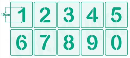 Zahlenschablone • 10cm hoch Set Nr.5 • 10 einzelne Schablonen • Zahlen von 0-9