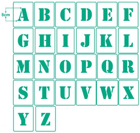Relativ Einzelne Buchstaben 8cm hoch, einzelne Schablonen - hbm-schablonenshop WG25