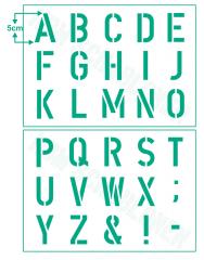 Schrift-Schablone Druck-Buchstaben 5cm Alphabet groß Nr.35