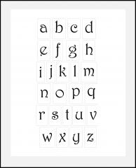 Schnörkel-Buchstaben klein 2,9cm - 5,4cm hoch Schrift-Schablonen-Set Nr.34 / 26 einzelne Schablonen