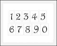 Schnörkel Zahlen 4cm-4,5cm hoch Zahlen-Schablonen-Set Nr.35 / 10 einzelne Schablonen