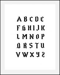 Gotische Schrift hca. 1,5-1,5cm hoch  ● Buchstaben-Schablone großes Alphabet Nr.16 ABC