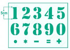 Zahlen 0-9 ● 15cm hoch Zahlen-Schablonen-Set Nr.35 ● 10 einzelne Schablonen