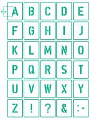 Buchstaben 5cm hoch Schrift-Schablonen-Set Nr.35 / 30 einzelne Schablonen