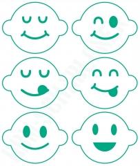 Schablonen Set ● 6 Motive Smileys ● für Kaffee ● Plätzchen oder Basteln