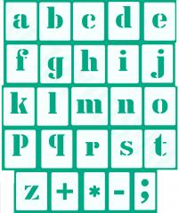 Kleine Buchstaben Schrift-Schablonen-Set Nr.5 / 30 einzelne Schablonen, passend zu 3cm Großbuchstaben