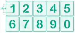 Zahlen 0-9 ● 10cm hoch ● Zahlen-Schablonen-Set Nr.2 ●10 einzelne Schablonen