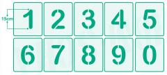Zahlen 15cm hoch 0-9 /  Zahlen-Schablonen-Set Nr.2 / 10 einzelne Schablonen