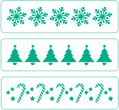 Nr. 02 ● 3er Set Weihnachts-Bordüren ● Motiv - Schablonen