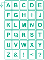 Buchstaben 4cm hoch Schrift-Schablonen-Set Nr.4 ● 30 einzelne Schablonen