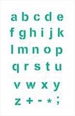 Kleine Buchstaben Schrift-Schablonen-Set Nr.4 / 30 einzelne Schablonen, passend zu 4cm Großbuchstaben