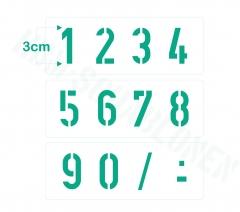 Zahlen 0-9 ca. 3cm hoch Zahlen-Schablone Nr.35