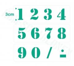 Zahlen 0-9 ca. 3cm hoch Zahlen-Schablone Nr.5