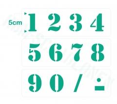 Zahlen 0-9 ca. 5cm hoch Zahlen-Schablone Nr.5
