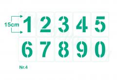 Einzelne Zahl 15cm hoch ● Zahlen-Schablonen einzelne Schablonen Nr.4