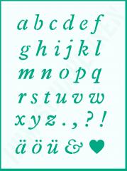 Schrift-Schablone kursives Alphabet ● kleine Buchstaben Nr.23