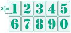 Zahlen 0-9 / 2cm hoch, Zahlen-Schablonen-Set Nr.5 / 10 einzelne Schablonen
