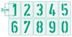 Zahlen 2cm hoch 0-9 / Zahlen-Schablonen-Set Nr.35 / 10 einzelne Schablonen
