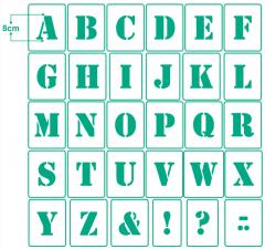 Buchstaben 8cm hoch ● Schrift-Schablonen-Set Nr.5 ● 30 einzelne Schablonen