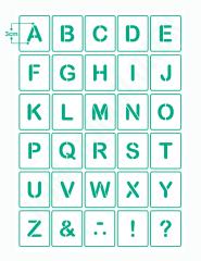 Buchstaben 3cm hoch Schrift-Schablonen-Set Nr.35 / 30 einzelne Schablonen
