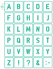 Buchstaben 4cm hoch ●Schrift-Schablonen-Set Nr.35 ● 30 einzelne Schablonen