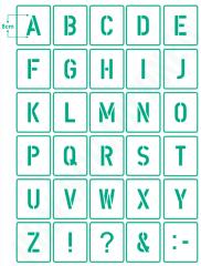 Buchstaben 8cm hoch ● Schrift-Schablonen-Set Nr.35 ● 30 einzelne Schablonen
